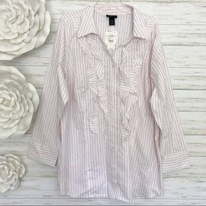 LANE BRYANT Ruffle Button Front Strip Shirt 28